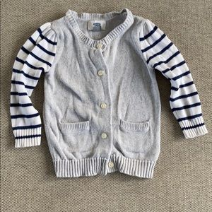 Silver cardigan with white/navy striped sleeves